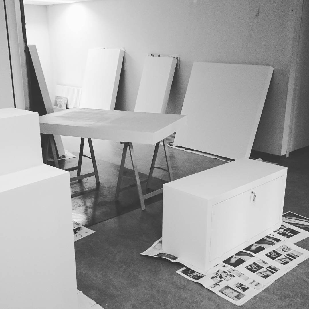 Painting the presentation blocks, check! #Milano #salonedelmobilemilano #isalone #salonesatellite #studiolorier
