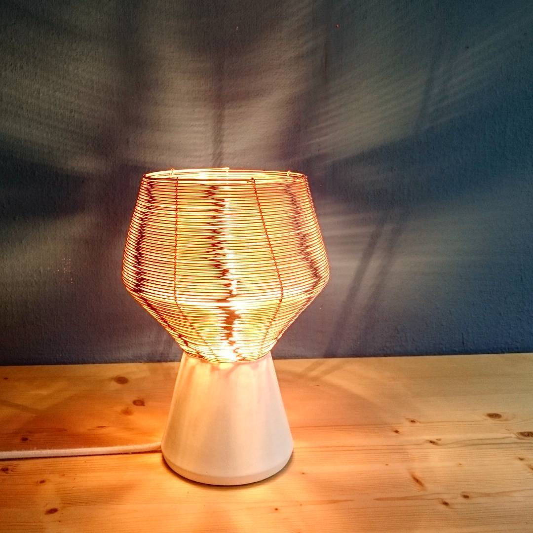 How about a #bedside lamp? I was really surprised by the #reflection #lamp #desklamp #warmlight #cozy #braided #copper #studiolorier