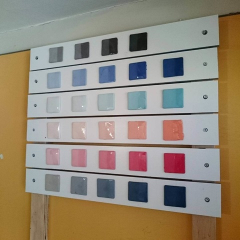Placed and sorted all #color #tests of the #ceramic #pigments #studiolorier