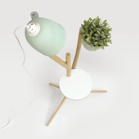 Branch-out: #modular #furniture which is a combination of #table #flowerpot and #lamp in one piece made of #oak #bentwood #studiolorier