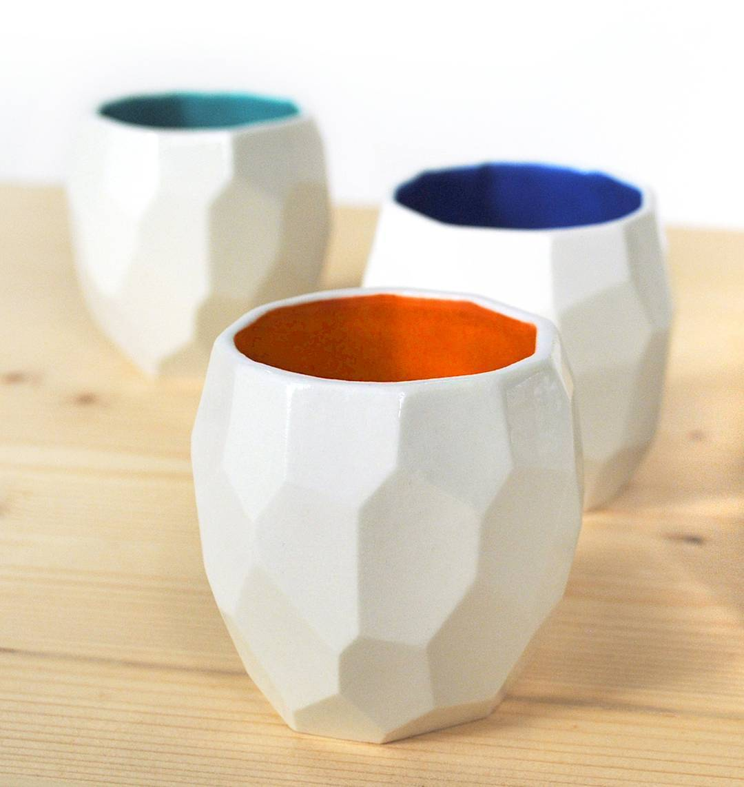 Detailled poligon espresso cups. See them from 14 till 23 October @interieur_be in kortrijk @designmilk
