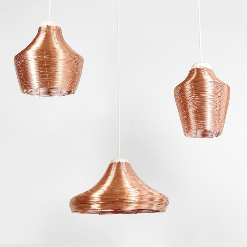 Three variations of the braided copper lamps..#3