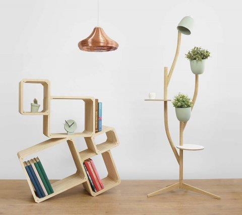 A selection of our products: shelving, lamps, flowerpot and small clock