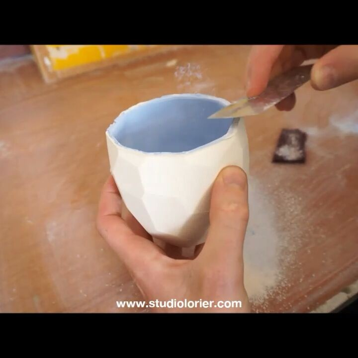 This is how I clean every cup, before firing in the kiln