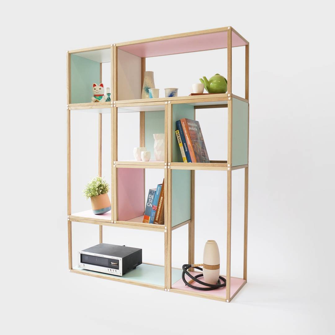 Our modular shelving, named the Stack. Each unit is stackable or can be used seperatly