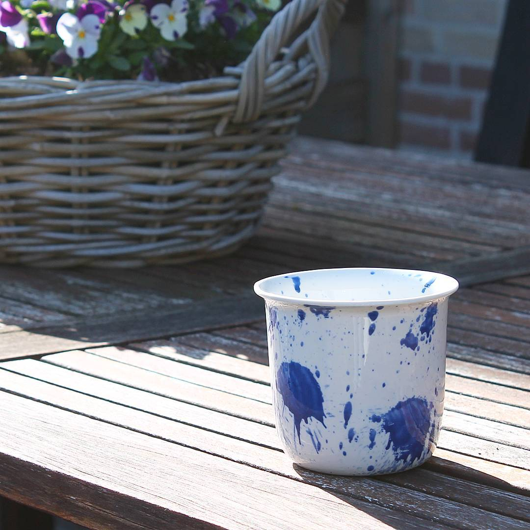 Splash cup, splattered in Cobalt Blue