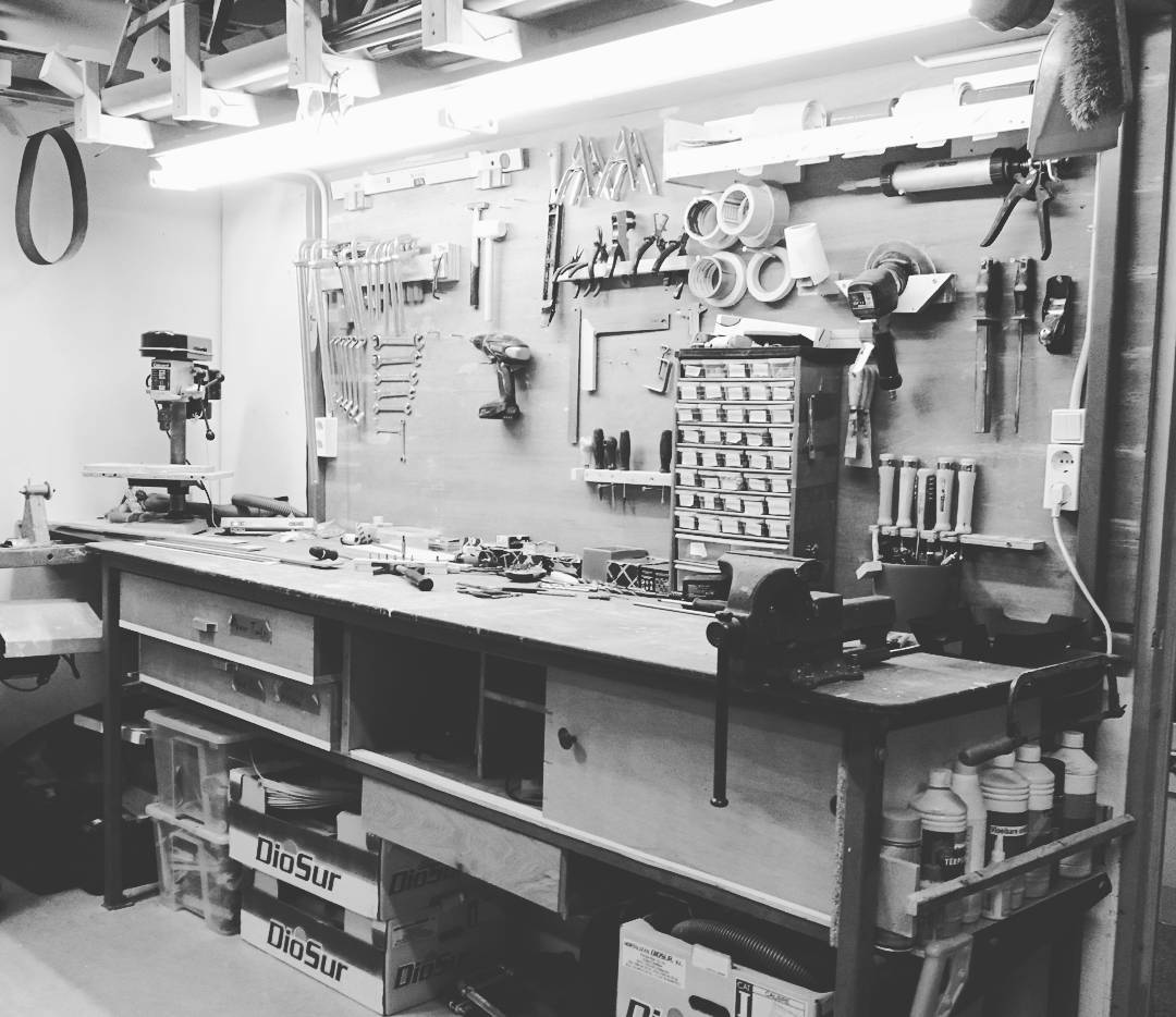 My favorite workbench in our workshop, where all the tools are ready to grab