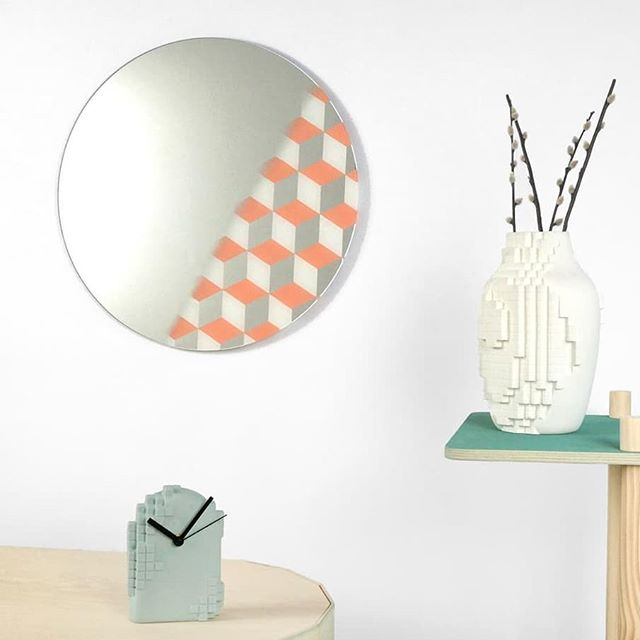 New addition to our collection: mirrors.  Half reflective and half a graphical pattern. Available in more colors