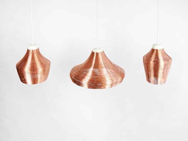 These copper pendant lampshades are each carefully handcrafted. Available in 3 shapes