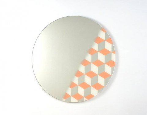 Mirror, including a cubical pattern that represents depth. Available in many other colors. Let us know what color you would like to see