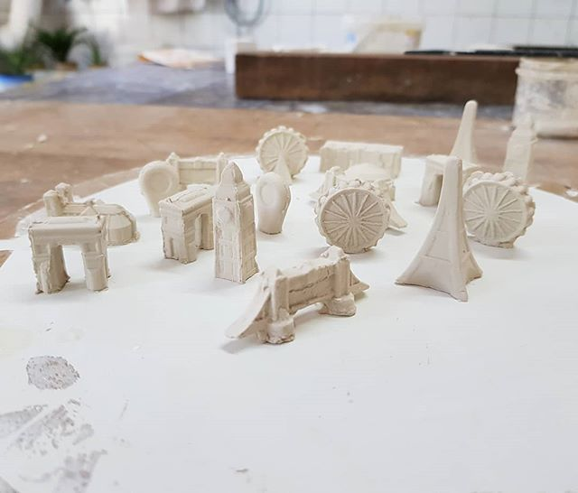 A bunch of new building, just out of their molds