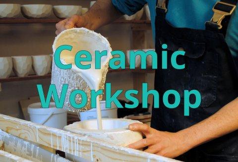 Studio Lorier Ceramic porcelain production in plaster molds, molding, sander lorier, workshop me34