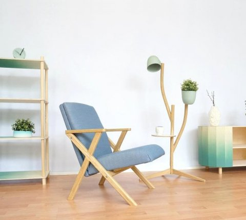 Hybrid Chair surrounded by various shelving units