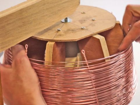 That's how the copper lamps are made.  Multiple hours of weaving one continues copper wire