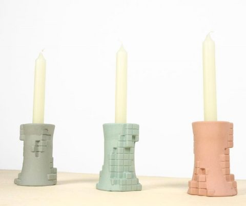 Pixelated candle holders