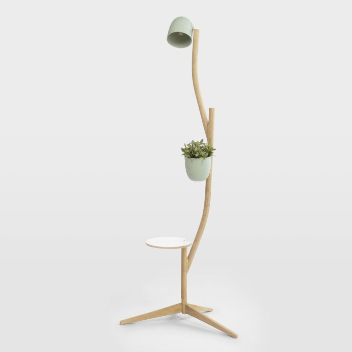 the Branch-Out is a multipurpose piece of furniture, with a small footprint and numerous configurations. The Branch-out contains separate nature inspired branches, which can be connected in countless possibilities. At each end of a branch, a flowerpot, table, lamp or a next branch can be connected