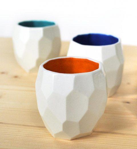 The Poligon Espresso cups in 3 colors