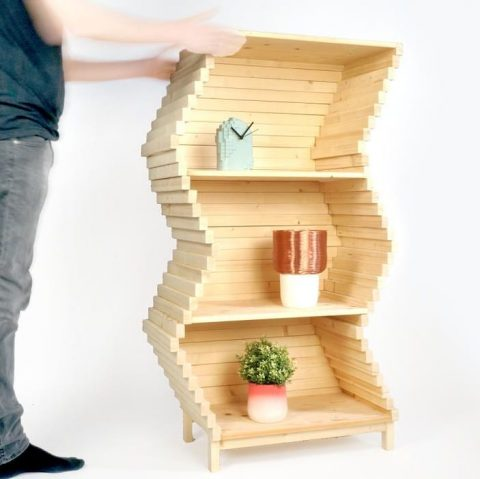The Wave Bookcase let's you change the shape, as each layer can be moved individually