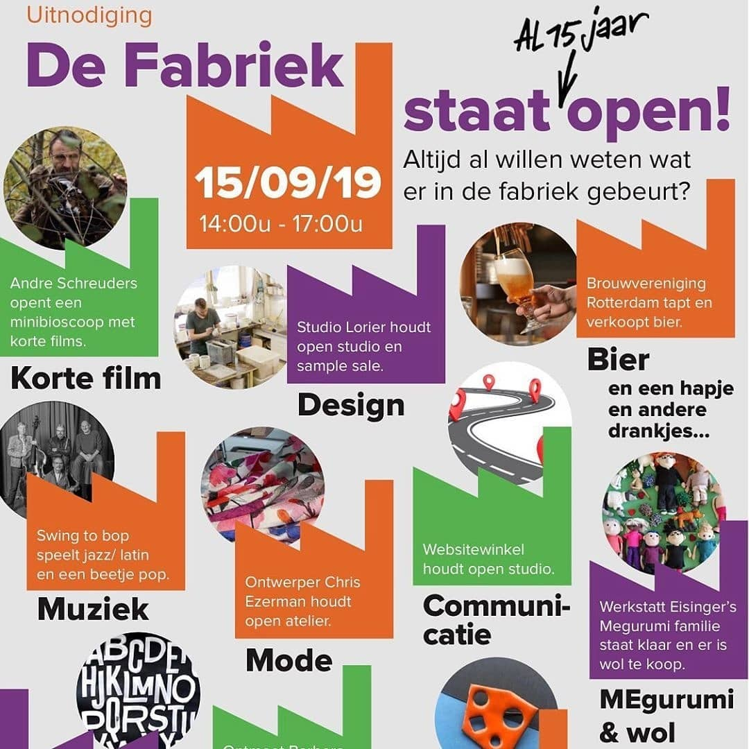 This Sunday the 15th September we open our doors! Come and see all different creators. Enjoy different workshops, sample sale, demonstrations and film. And there are drinks 🍻 @ditisdefabriek