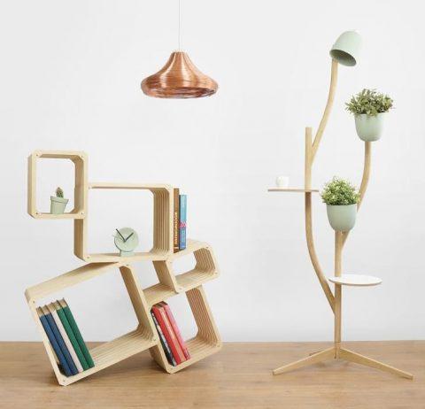 Lamp, shelf and shelf/lamp/flowerpot
