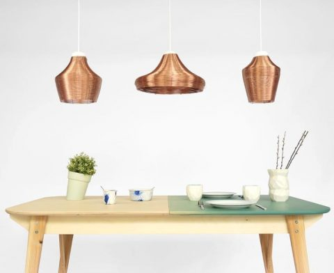 Table with pendant lamps